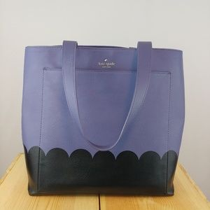 KATE SPADE   andrea scallop black/purple tote bag